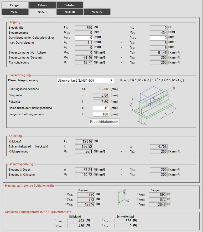 Berechnung Schienen Fahrkorb