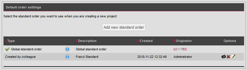 Default order settings new function