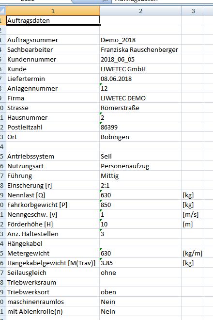 Demo Export Excel Datei