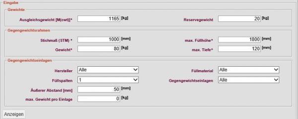 Gegengewichtseinlagenauswahl LIWETEC GmbH