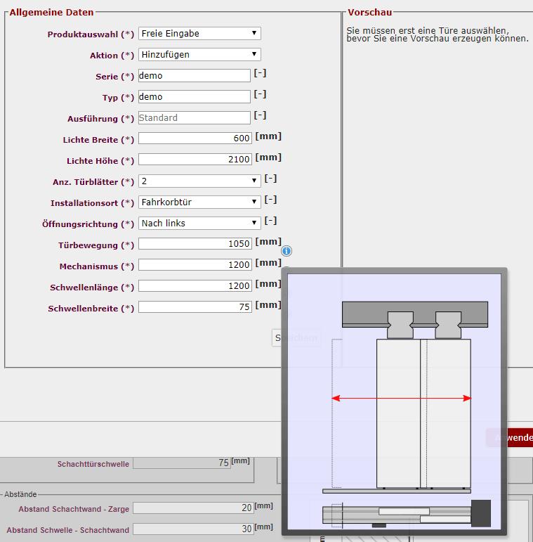 Schachtskizze Türenauswahl Details Tooltips