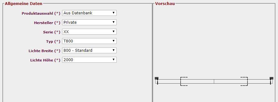 Schachtskizze Türenauswahl Details
