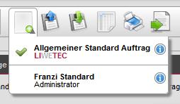 Standardaufträge verwalten neue Funktion Auftrag öffnen
